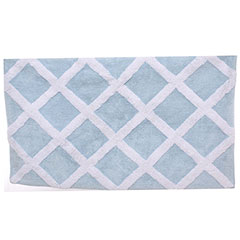 Diamond Trellis Cottage Blue Bath Rug