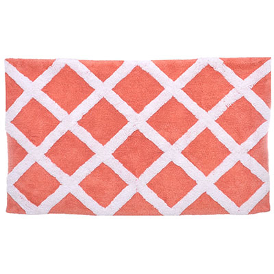 Laura Ashley Diamond Trellis Coral Bath Rug