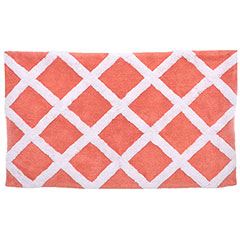 Diamond Trellis Coral Bath Rug