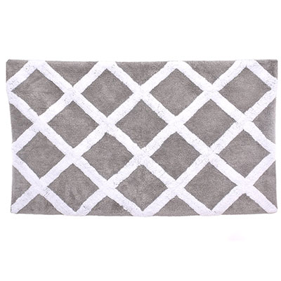Laura Ashley Diamond Trellis Gray Pearl Bath Rug