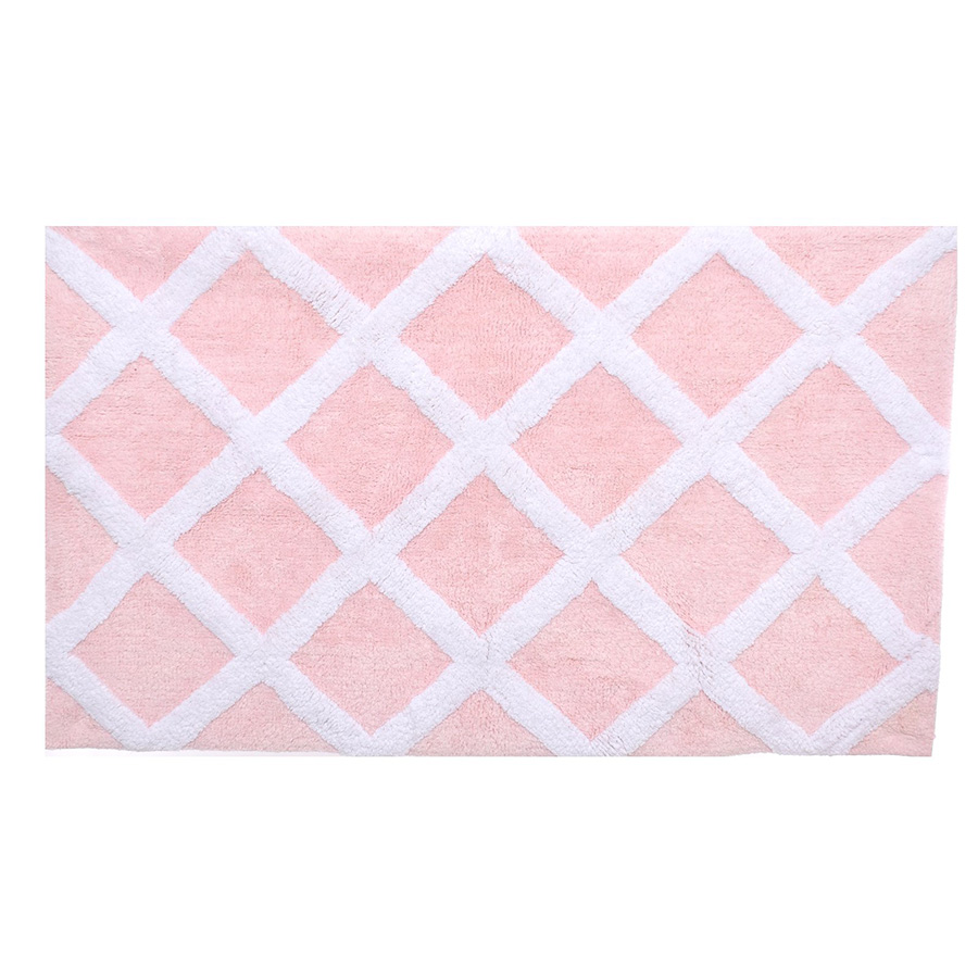 Laura Ashley Diamond Trellis Soft Pink Bath Rug From