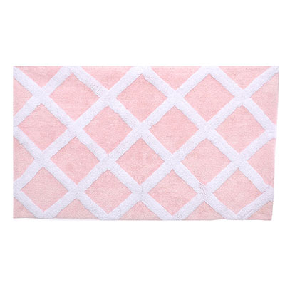 Laura Ashley Diamond Trellis Soft Pink Bath Rug