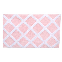 Diamond Trellis Soft Pink Bath Rug
