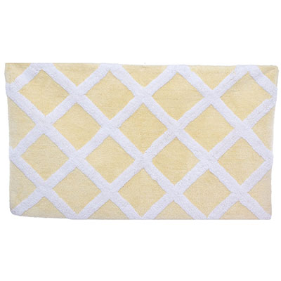 Laura Ashley Diamond Trellis Pale Yellow Bath Rug