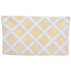 Diamond Trellis Pale Yellow Bath Rug