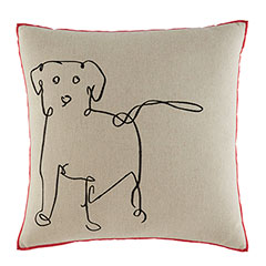 ED Ellen DeGeneres Square Pillow Embroidered Dog