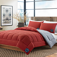 Solid Red/Gray Reversible  Microfiber Comforter Set