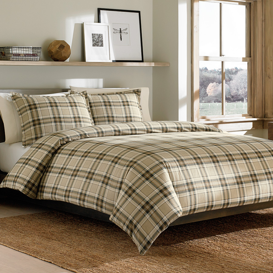 Twin Flannel Duvet Set Eddie Bauer Edgewood Plaid