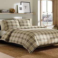 Eddie Bauer Edgewood Plaid Dark Pine Flannel Duvet Set