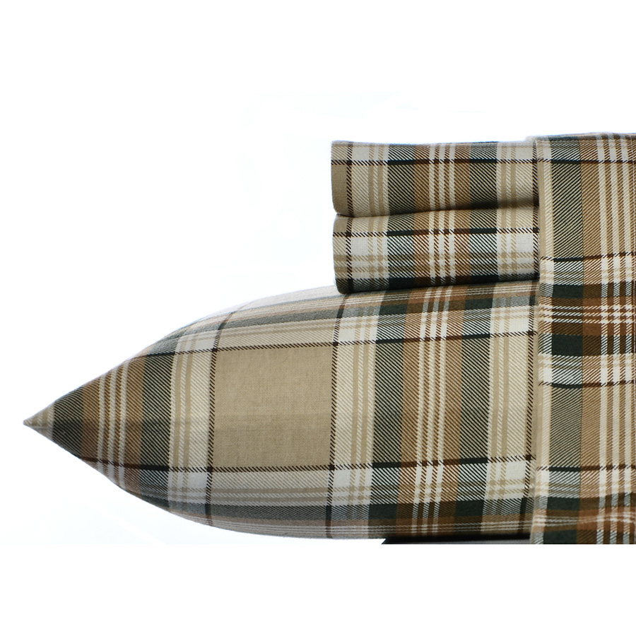 Eddie Bauer Edgewood Plaid Dark Pine Flannel Sheet Set from ...