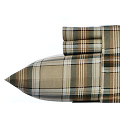 Edgewood Plaid Dark Pine Flannel Sheet Set
