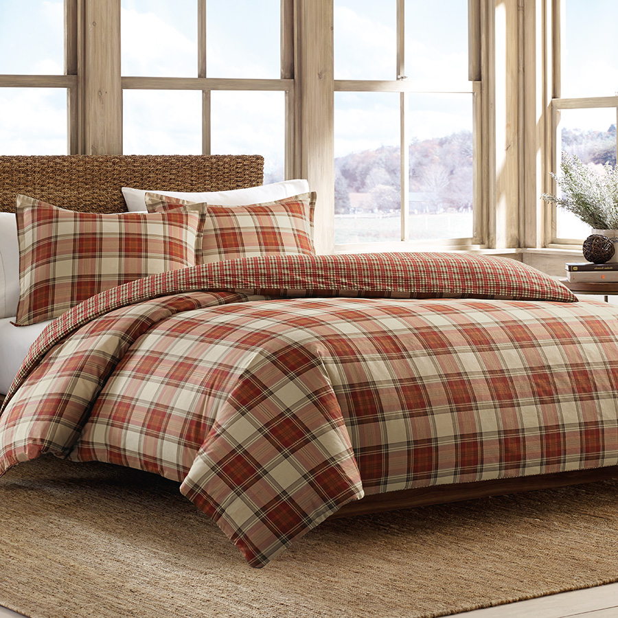 Eddie Bauer Edgewood Plaid Red Duvet Set from Beddingstyle.com
