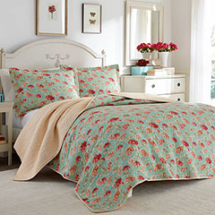 Laura Ashley Edwina Vintage Coral Quilt Set