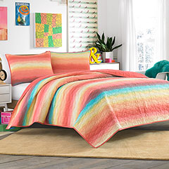 Teen Vogue Electric Beach Coral Quilt Set