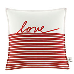 Square Pillow Embroidered Love Stripe