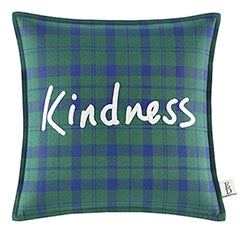 Square Pillow Embroidered Plaid Kindness