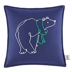 Square Pillow Embroidered Polar Bear