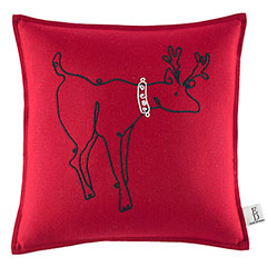 Square Pillow Embroidered Reindeer