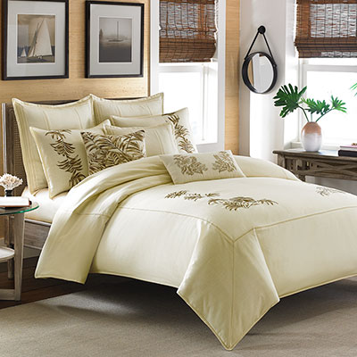 Tommy Bahama Embroidered Botanical Duvet Collection From