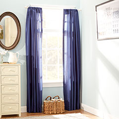 Stone Cottage Faux Silk Twilight Blue Window Drapes