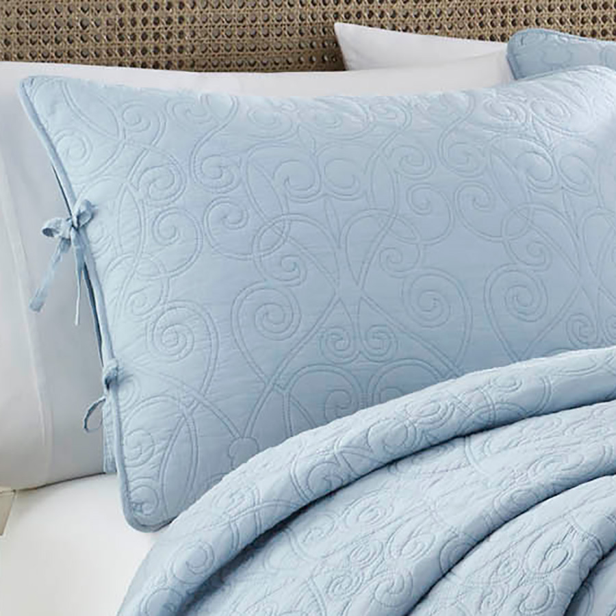 Laura Ashley Felicity Breeze Blue Quilt Set From