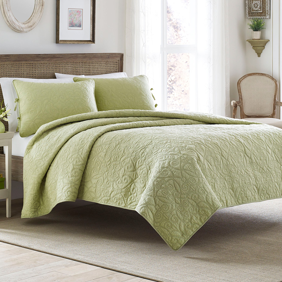 Laura Ashley Felicity Light Green Quilt Set from
