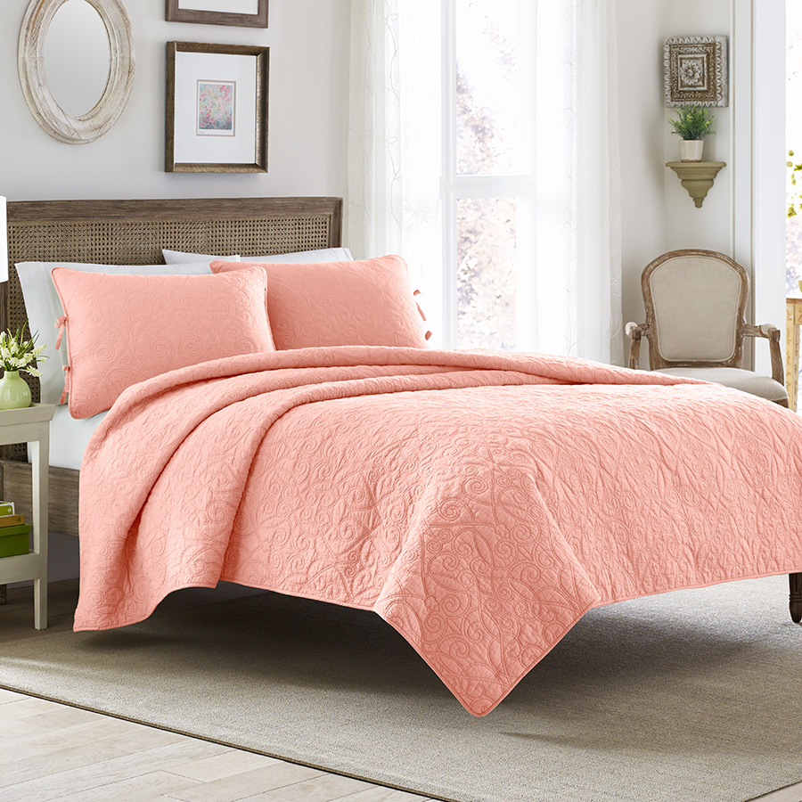 Laura Ashley Felicity Coral Quilt Set From Beddingstyle