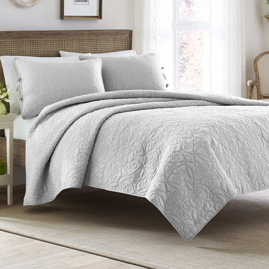 Full Queen Quilt Set Laura Ashley Felicity Soft Grey
