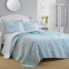 Laura Ashley Fish Frolic Pale Blue Sky Quilt Set