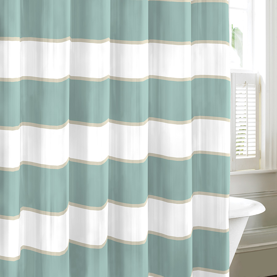 Nautica palmetto bay stripe shower curtain from beddingstyle com - Nautica Guardhouse Mist Shower Curtain