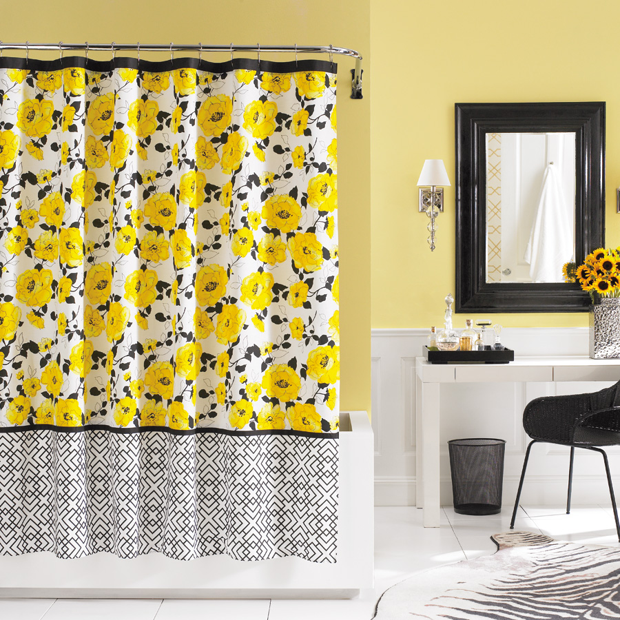 Orange And Blue Shower Curtain Yellow Floral Shower Curtain
