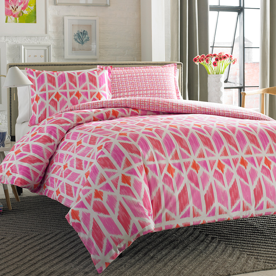 City Scene Grayson Multi Pink Comforter And Duvet Set From