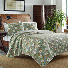Tommy Bahama Havana Garden Harbor Blue Quilt Set