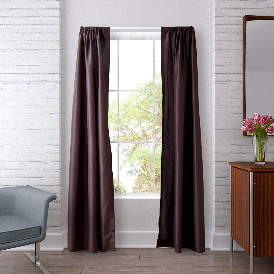 Pair of Drapes 54 x 63 Heritage Landing Solid Coffe Bean