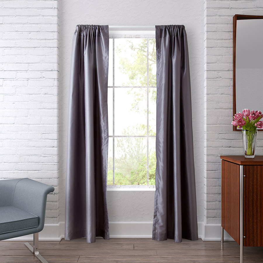 Pair of Drapes 54 x 63 Heritage Landing Solid Steel Gray