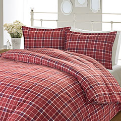 Laura Ashley Highland Check Flannel Comforter & Duvet Set
