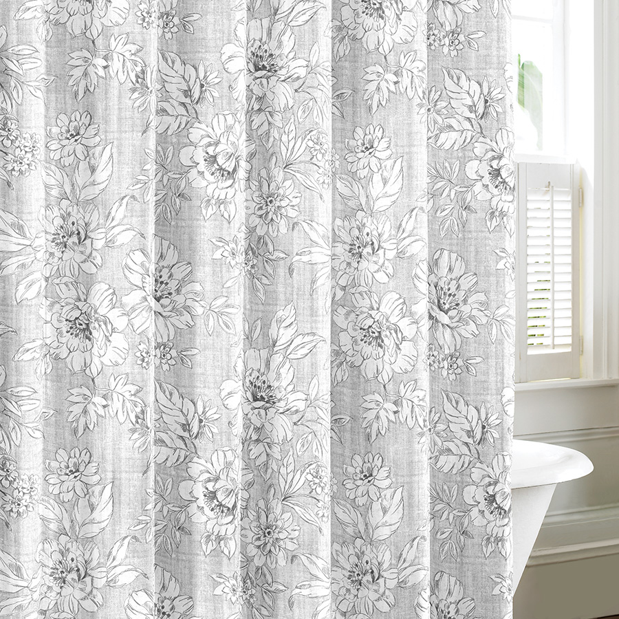laura ashley iris gray shower curtain from. Black Bedroom Furniture Sets. Home Design Ideas