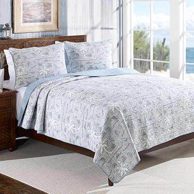 Tommy Bahama Island Song Pelican Gray Quilt Set