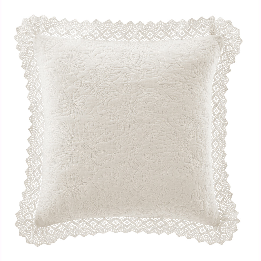 Decorative Pillow Laura Ashley Ruffle Ivory Cotton