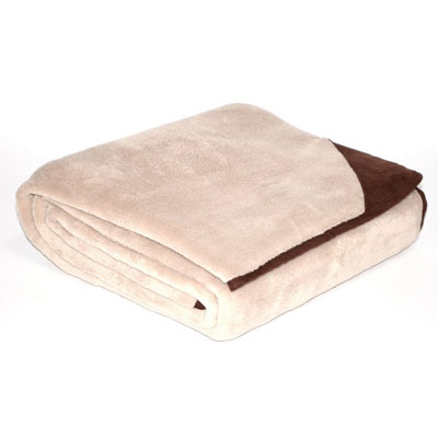 Eddie Bauer Khaki Throw With Brown Trim