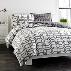 City Scene Labyrinth Reversible Gray Duvet Set