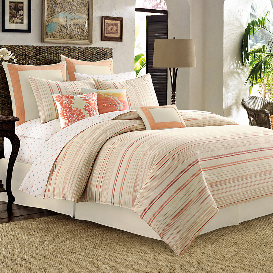Full Queen Duvet Cover Tommy Bahama La Scala Breezer Papaya