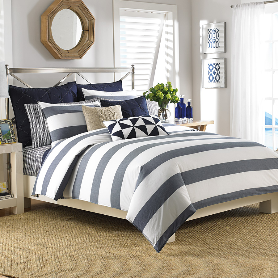 Nautica Lawndale Navy Comforter and Duvet Sets from Beddingstyle.com
