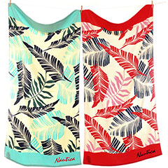 Leaf Aqua & Red Beach Towel Set