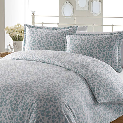 Laura Ashley Leaves Aqua Flannel Duvet Set