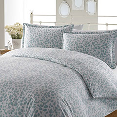 Leaves Aqua Flannel Duvet Set