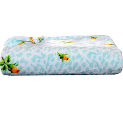 Leopard Floral Blue Soft Rose Plush Blanket