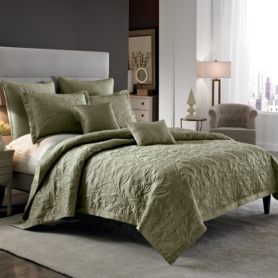 Nicole Miller Lexington Silver Sage Coverlet From