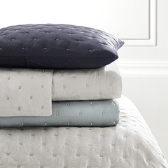 Vera Wang Luster Silver Blue, Cloud Grey, Indigo Quilt