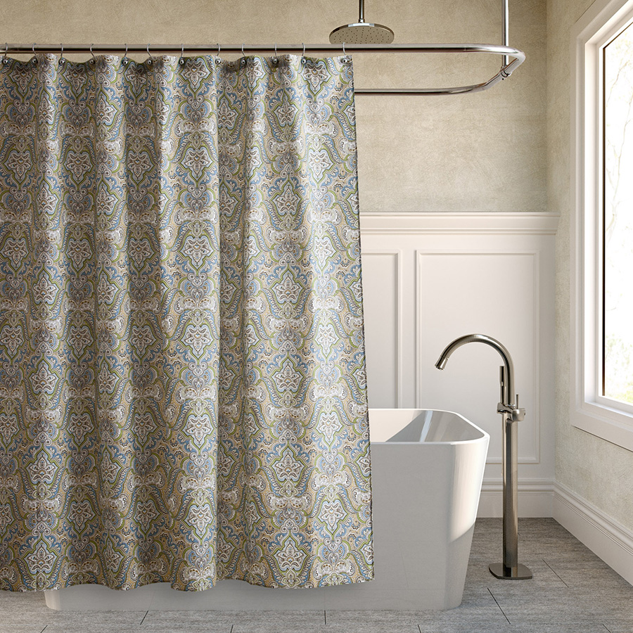laura ashley maiden lane denim shower curtain from. Black Bedroom Furniture Sets. Home Design Ideas